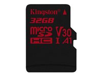 Kingston Canvas React - Flashminnekort - 32 GB - A1 / Video Class V30 / UHS-I U3 / Class10 - microSDHC UHS-I SDCR/32GBSP